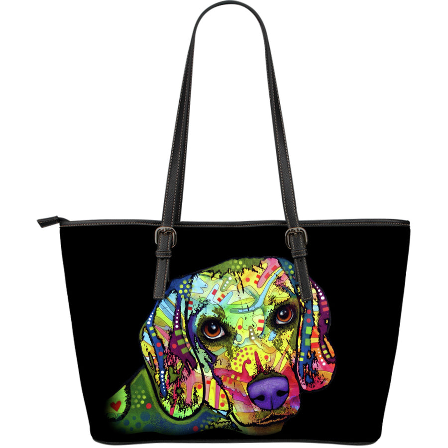 Beagle Large Leather Tote Bag - Dean Russo Art - Jill 'n Jacks