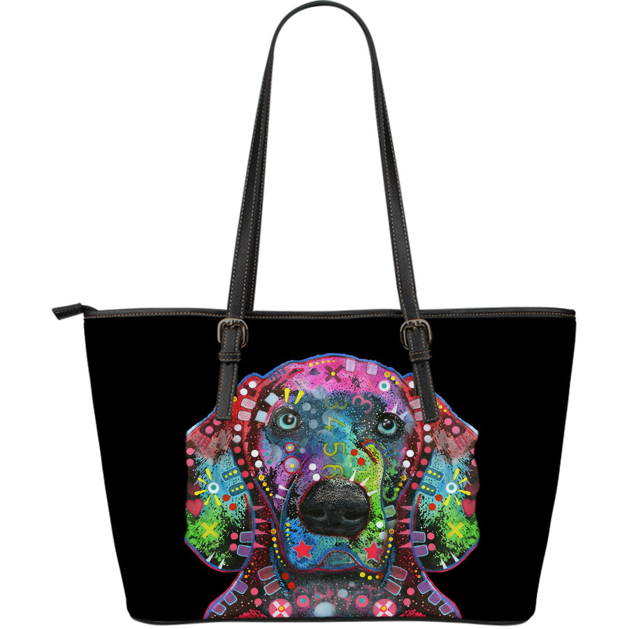 Weimaraner Large Leather Tote Bag - Dean Russo Art - Jill 'n Jacks
