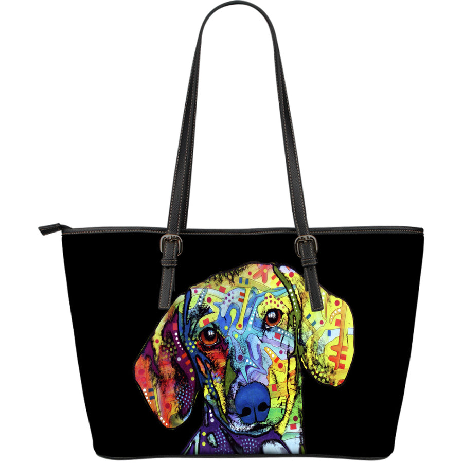 Dachshund Large Leather Tote Bag - Dean Russo Art - Jill 'n Jacks