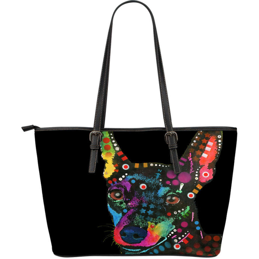 Miniature Pinscher Large Leather Tote Bag - Dean Russo Art - Jill 'n Jacks