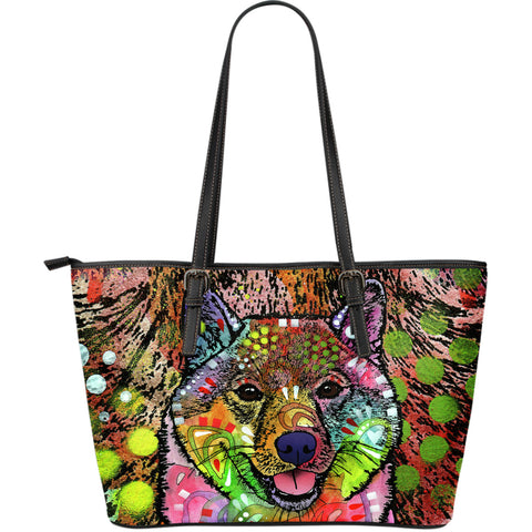 Shiba Inu Large Leather Tote Bag - Dean Russo Art
