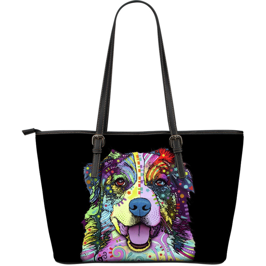 Australian Shepherd Large Leather Tote Bag - Dean Russo Art - Jill 'n Jacks