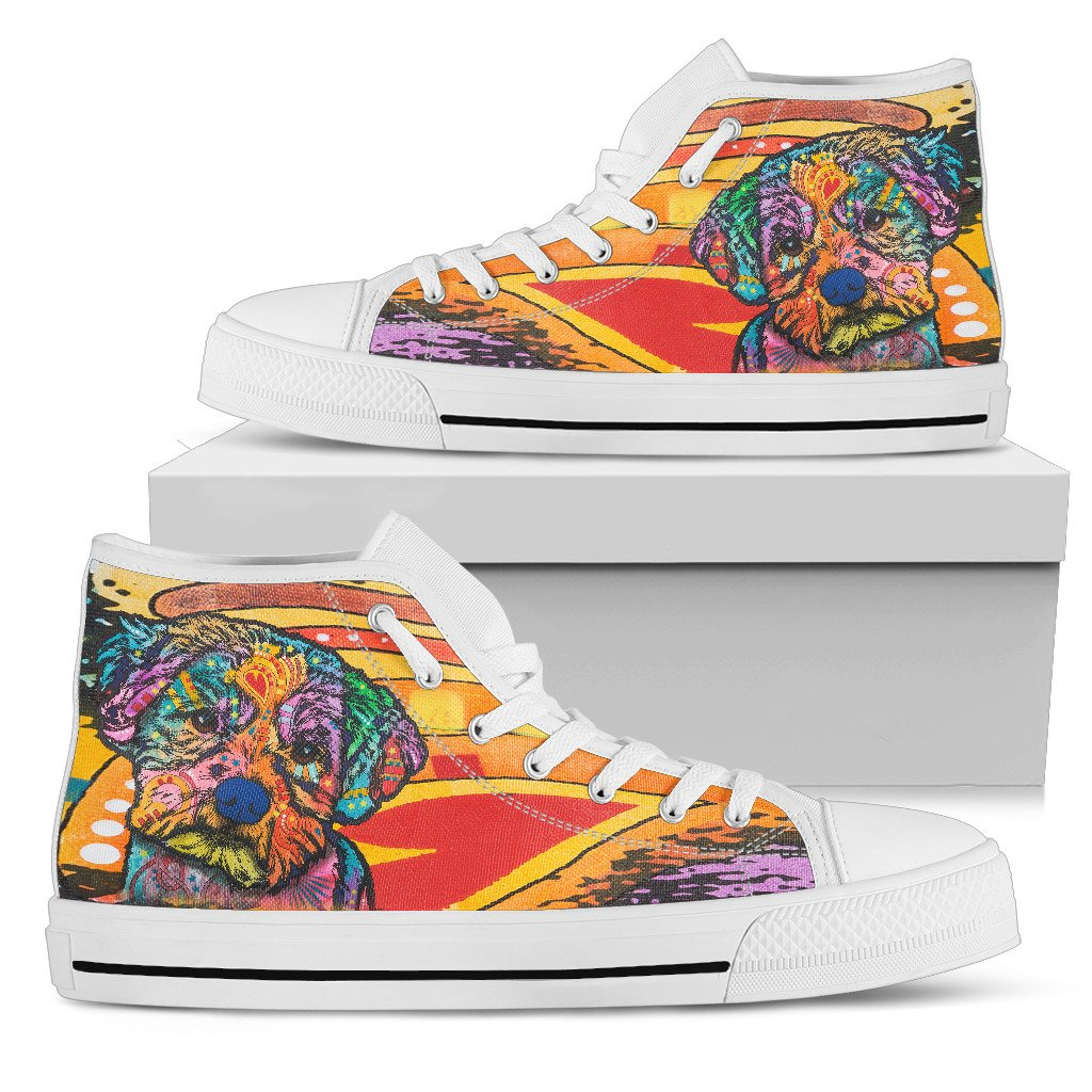 Maltese Women's High Top Canvas Shoes - Dean Russo Art
