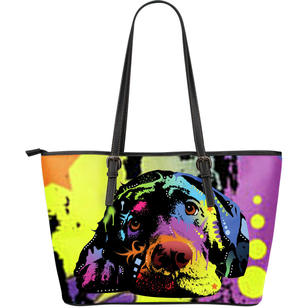 Labrador Large Leather Tote Bag - Dean Russo Art