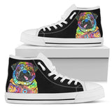 Pug Men's High Top Canvas Shoes - Dean Russo Art