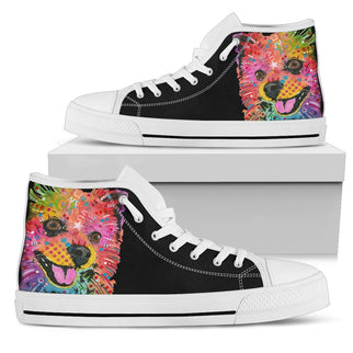 Pomeranian Men's High Top Canvas Shoes - Dean Russo Art - Jill 'n Jacks