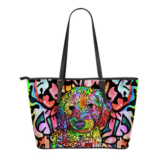 Labradoodle Small Leather Tote Bags - Dean Russo Art - Jill 'n Jacks
