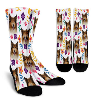Rough Collie Floral Design Crew Socks - JillnJacks Exclusive - Jill 'n Jacks