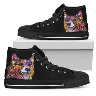 Corgi Men's High Top Canvas Shoes - Dean Russo Art - Jill 'n Jacks