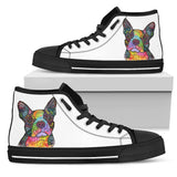 Boston Terrier Men's High Top Canvas Shoes - Dean Russo Art - Jill 'n Jacks