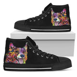 Corgi Women's High Top Canvas Shoes - Dean Russo Art - Jill 'n Jacks