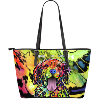 Golden Retriever Large Leather Tote Bag - Dean Russo Art - Jill 'n Jacks
