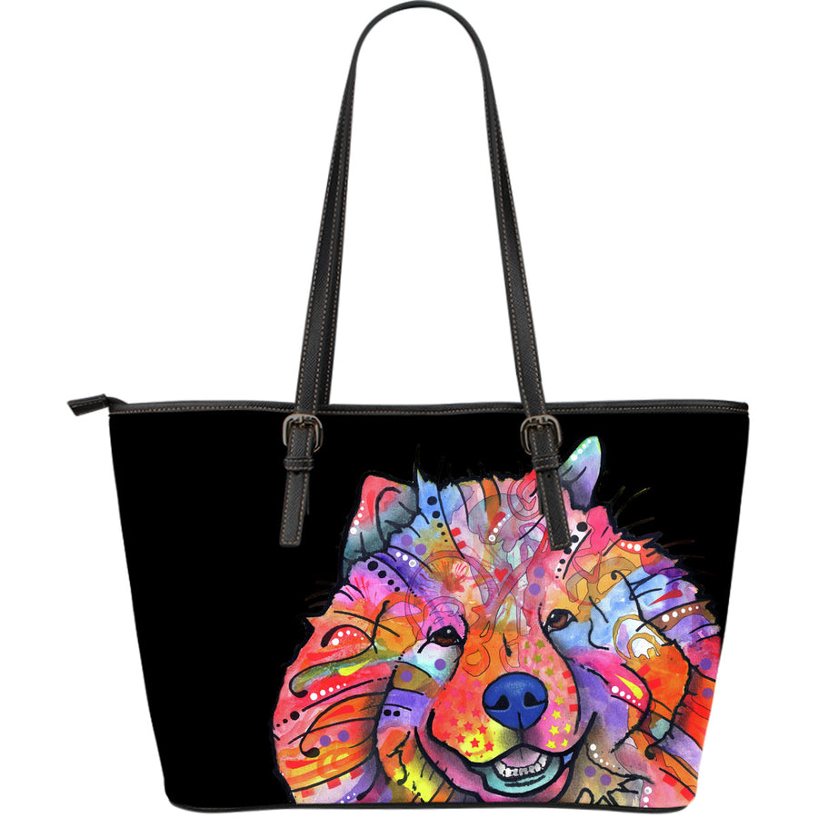 Chow Chow Large Leather Tote Bag - Dean Russo Art - Jill 'n Jacks