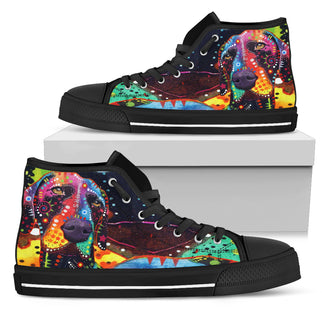 German Shorthaired Pointer Men's High Top Canvas Shoes - Dean Russo Art - Jill 'n Jacks