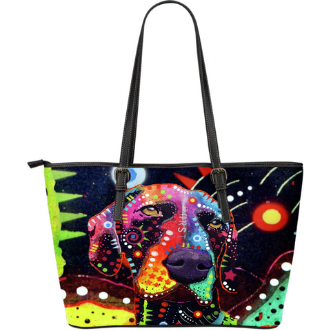 German Shorthaired Pointer Large Leather Tote Bag - Dean Russo Art