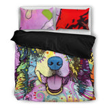 Australian Shepherd Bedding Set - Duvet Cover and Two Pillow Covers - Dean Russo Art