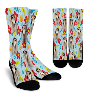 Afghan Hound Design Crew Socks - JillnJacks Exclusive - Jill 'n Jacks