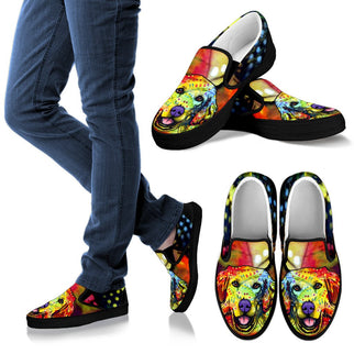 Golden Retriever Design Women's Slip Ons - Dean Russo Art - Jill 'n Jacks