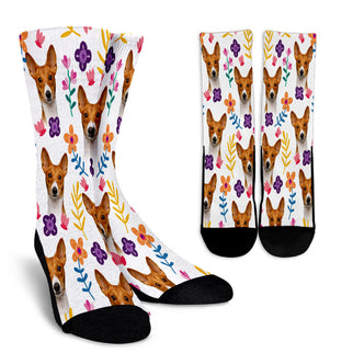 Basenji Floral Design Crew Socks - JillnJacks Exclusive - Jill 'n Jacks