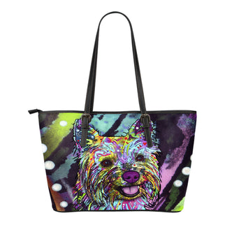 Cairn Terrier Small Leather Tote Bags - Dean Russo Art - Jill 'n Jacks