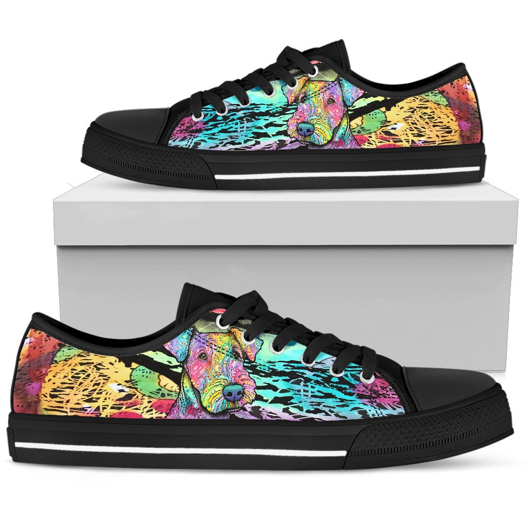 Airedale Terrier Men's Low Top Canvas Shoes - Dean Russo Art