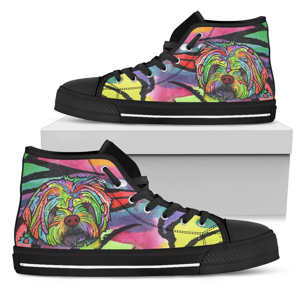 Havanese Men's High Top Canvas Shoes - Dean Russo Art