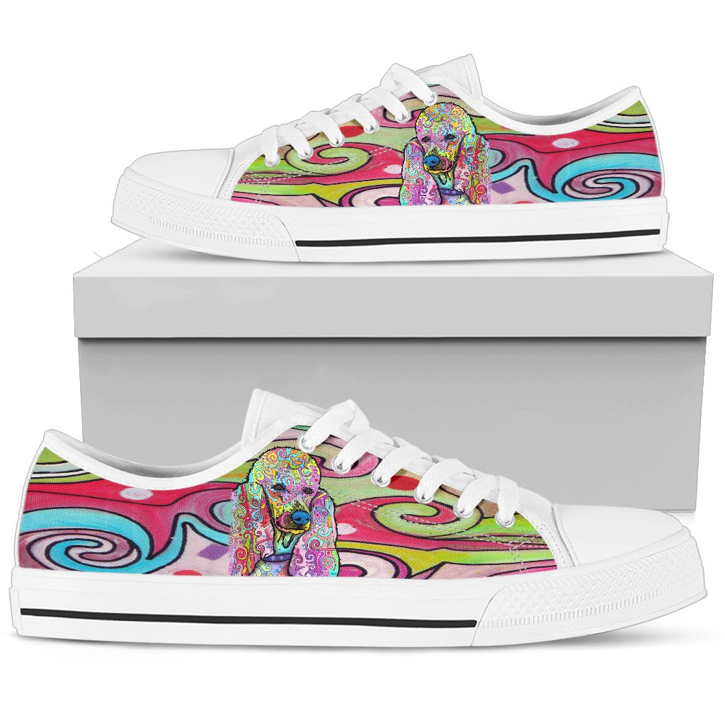 Poodle Women's Low Top Canvas Shoes - Dean Russo Art