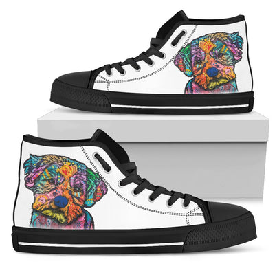 Maltese Women's High Top Canvas Shoes - Dean Russo Art - Jill 'n Jacks