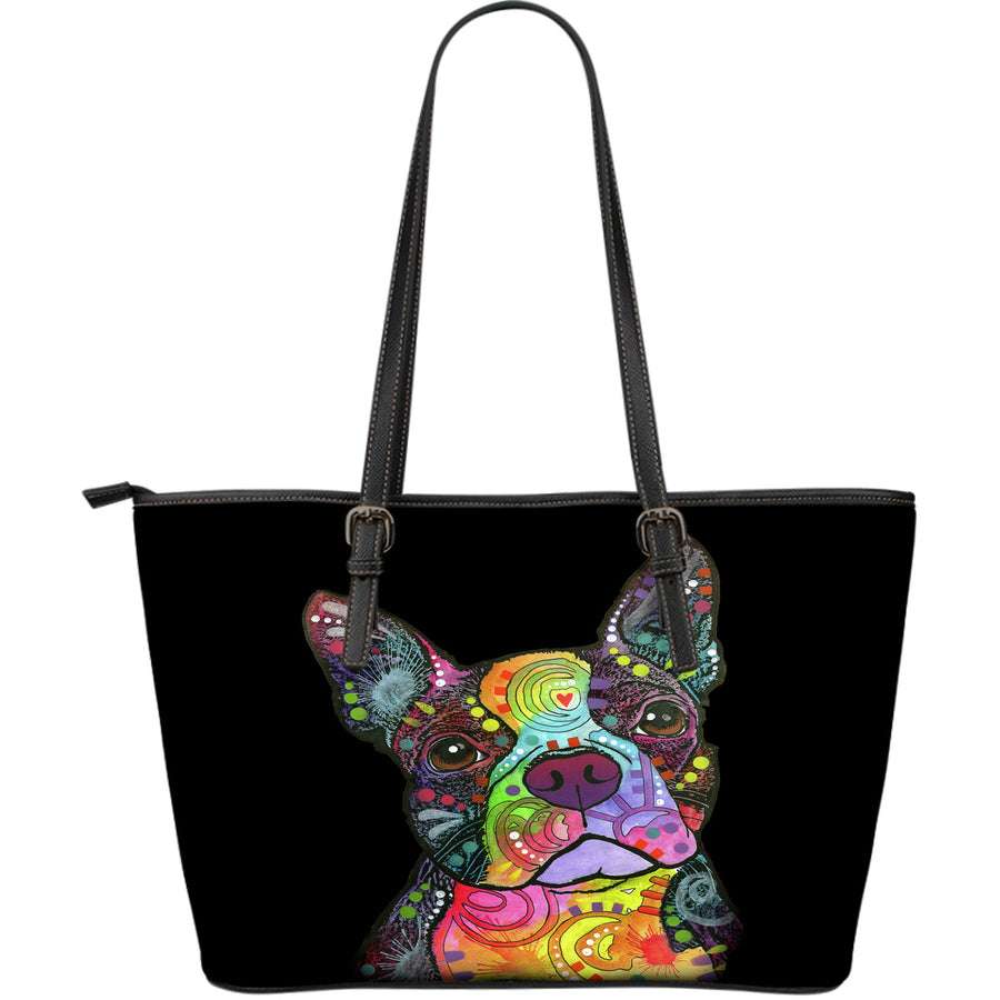 Boston Terrier Large Leather Tote Bag - Dean Russo Art - Jill 'n Jacks