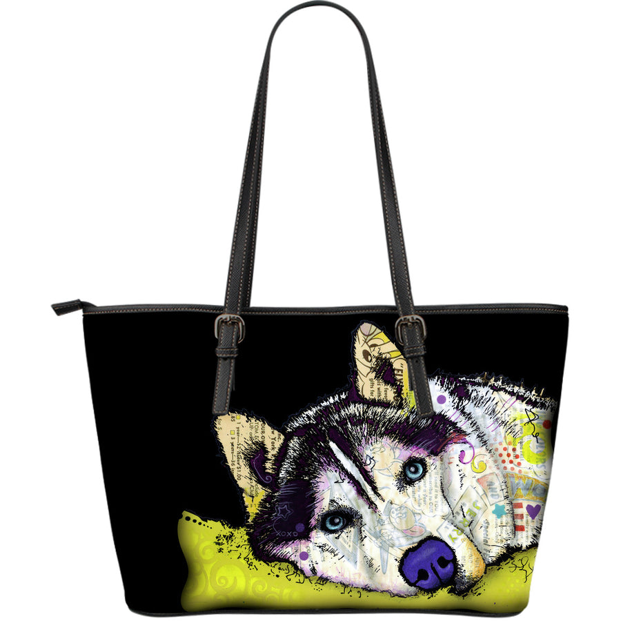 Husky Large Leather Tote Bag - Dean Russo Art - Jill 'n Jacks