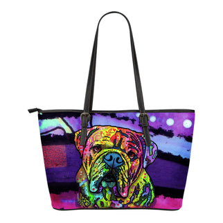 Bulldog Small Leather Tote Bags - Dean Russo Art - Jill 'n Jacks