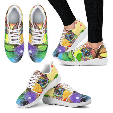 Pug Design Women's Athletic Sneakers - Dean Russo Art