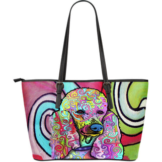 Poodle Large Leather Tote Bag - Dean Russo Art