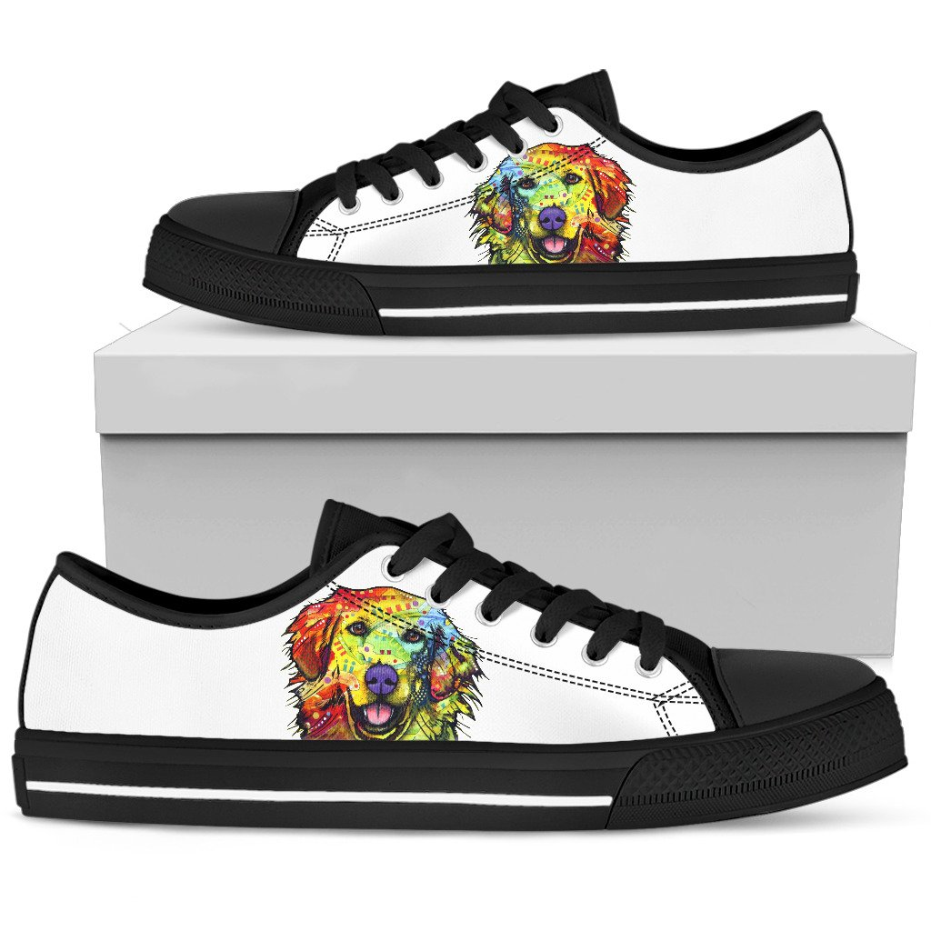 Golden Retriever Men's Low Top Canvas Shoes - Dean Russo Art