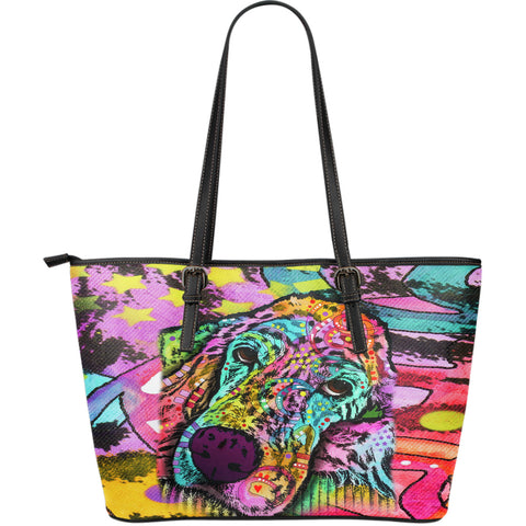 Irish Setter Series Large Leather Tote Bag - Dean Russo Art