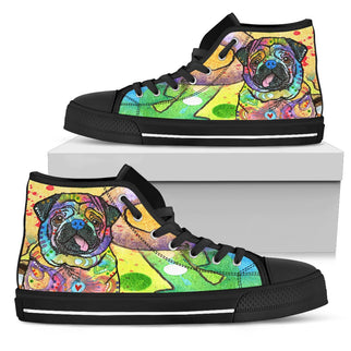 Pug Men's High Top Canvas Shoes - Dean Russo Art - Jill 'n Jacks