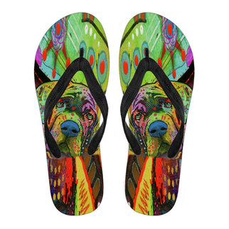 Mastiff Design Men's Flip Flops  - Dean Russo Art
