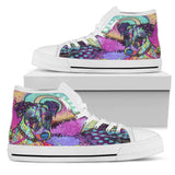 Jack Russell Terrier Men's High Top Canvas Shoes - Dean Russo Art