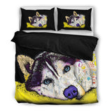 Husky Bedding Set - Duvet / Comforter Cover and Two Pillow Covers - Dean Russo Art