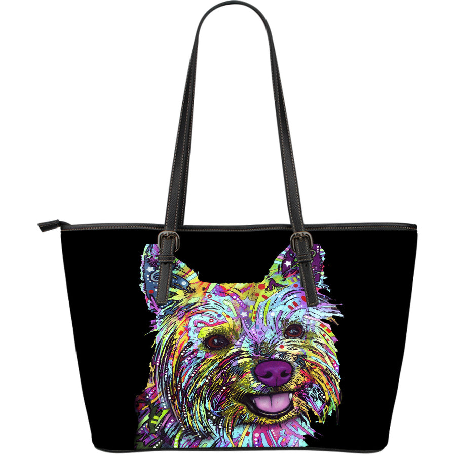 Cairn Terrier Large Leather Tote Bag - Dean Russo Art - Jill 'n Jacks