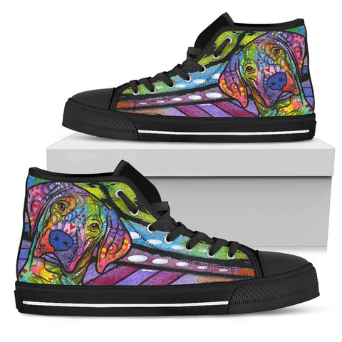 Vizsla Men's High Top Canvas Shoes - Dean Russo Art