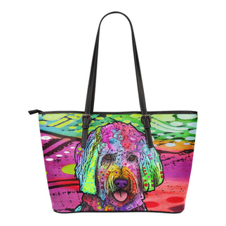 Goldendoodle Small Leather Tote Bags - Dean Russo Art - Jill 'n Jacks