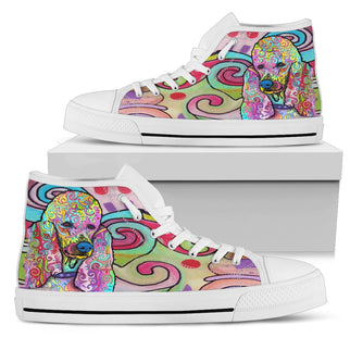 Poodle Women's High Top Canvas Shoes - Dean Russo Art
