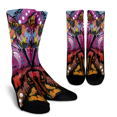 Bull Terrier Design Crew Socks - Dean Russo Art