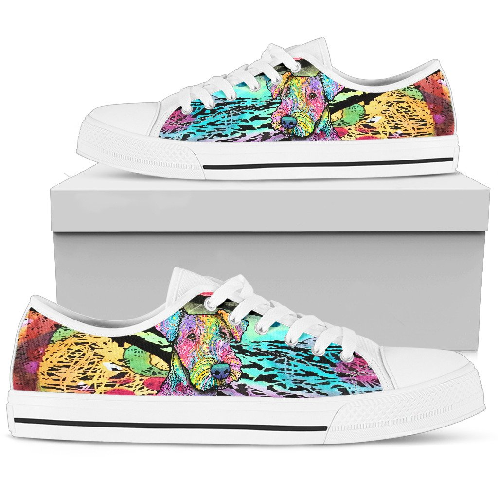 Airedale Terrier Women's Low Top Canvas Shoes - Dean Russo Art