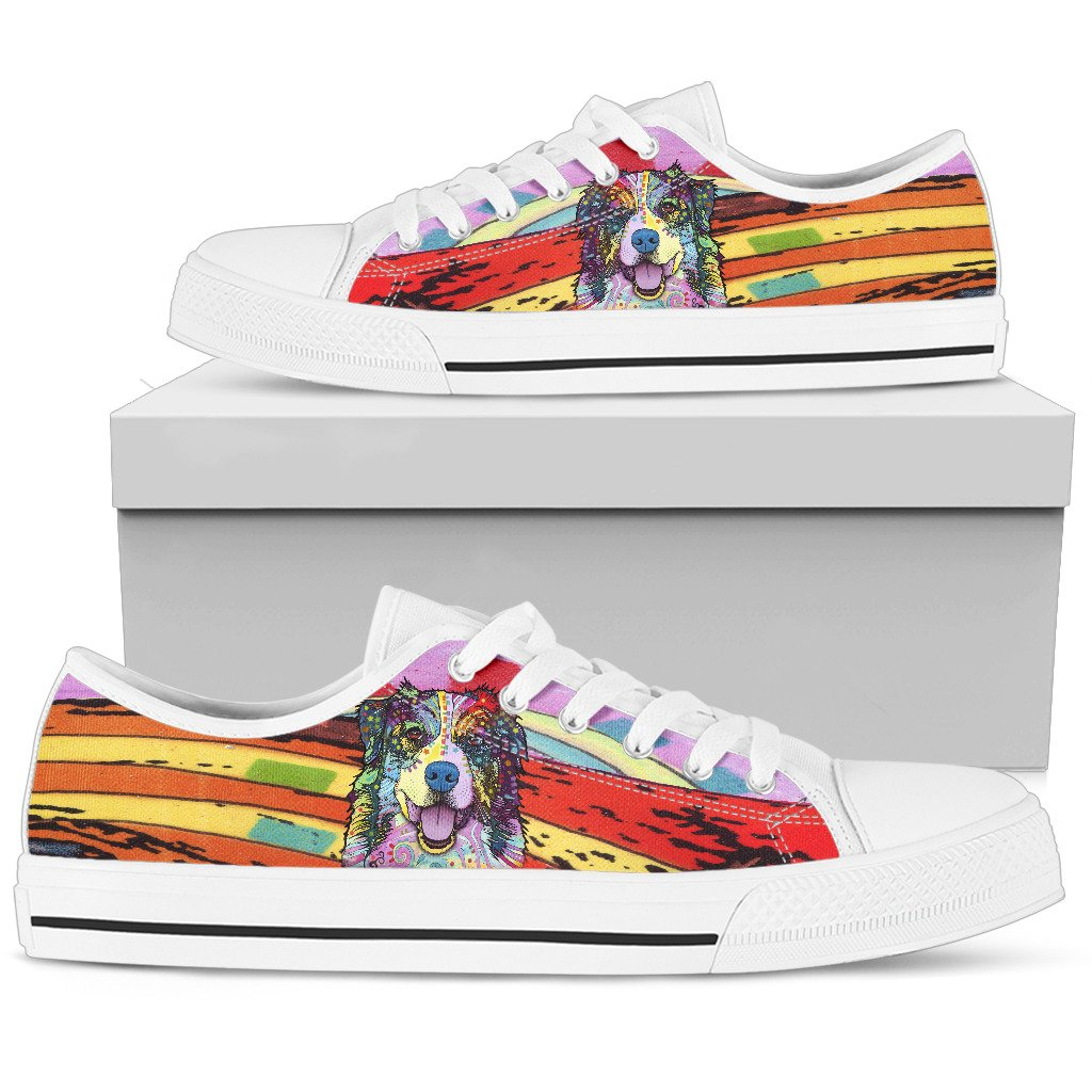 Australian Shepherd Women's Low Top Canvas Shoes - Dean Russo Art