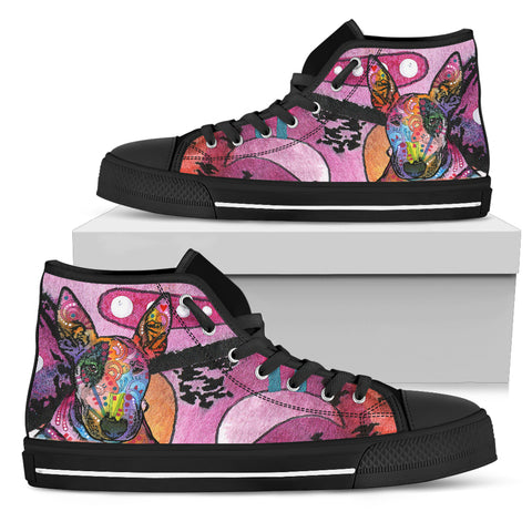 Bull Terrier Women's High Top Canvas Shoes - Dean Russo Art