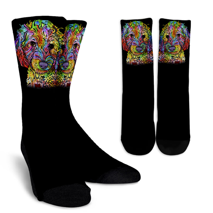 Labradoodle Series Design Crew Socks - Dean Russo Art