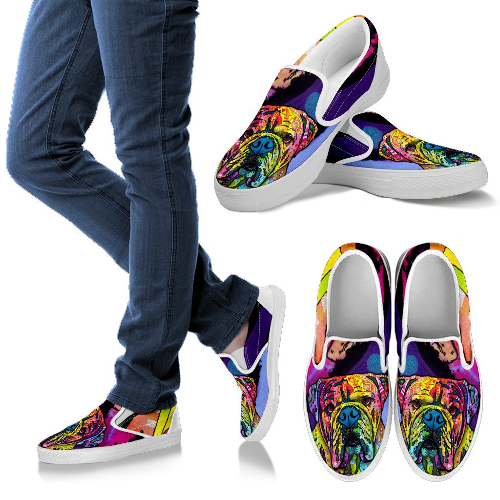 Bulldog Design Women's Slip Ons - Dean Russo Art