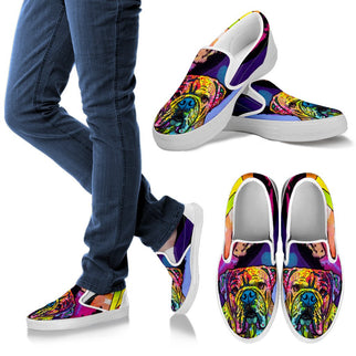 Bulldog Design Women's Slip Ons - Dean Russo Art - Jill 'n Jacks